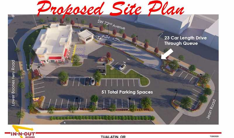 COURTESY IN-N-OUT BURGER - The proposed queue for the Tualatin In-N-Out Burger would handle 23 cars and contain a parking lot with 51 spaces. Access would be Jean Road, off of 72n Avenue, the current entrance to the now-closed Village Inn restaurant and Men's Warehouse.