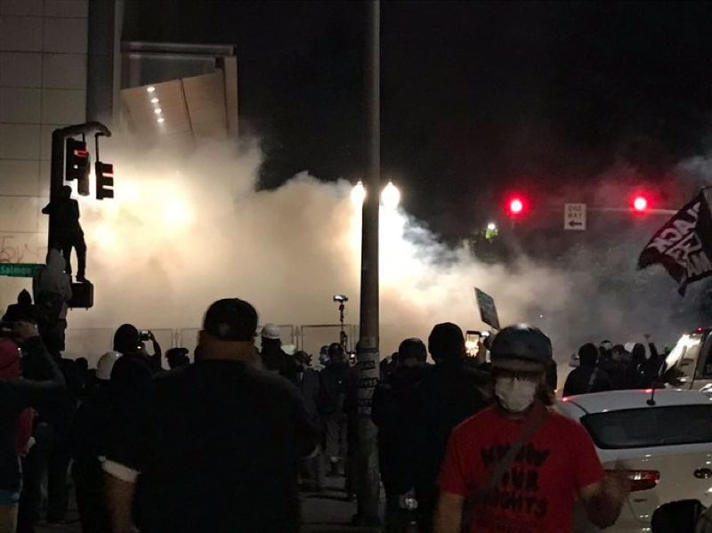 COURTESY PHOTO: KOIN 6 NEWS - Tear gas deployed overnight outside the U.S. Courthouse.