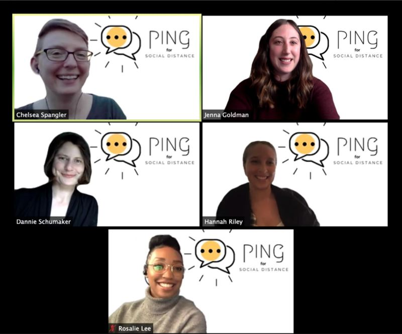 COURTESY: CHELSEA SPANGLER - The five women pictured are presenting a back-end software project Spangler's cohort designed and built, called Social Distance-Ping. It pulls current COVID-19 statistics every hour, and users can send a text message to receive on-demand data for any US state, any time of day. The background logo was designed by Rosalie Lee, pictured at the bottom.
