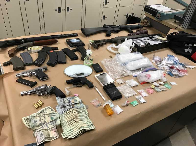 COURTESY PHOTO: WILSONVILLE POLICE - Police seized an array of weapons as well as three pounds of methamphetamine during the stop.