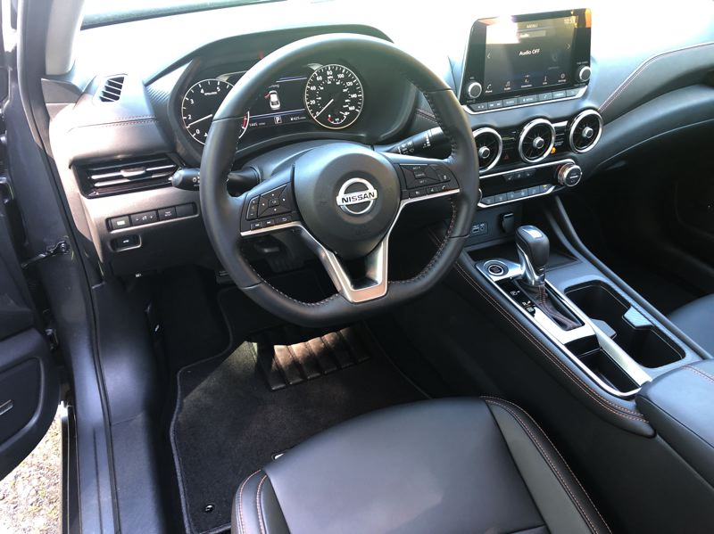 PMG PHOTO: JEFF ZURSCHMEIDE - The interior of the 2020 Nissan Sentra is thoroughly contemporary and driver friendly. All models come standard with the Nissan Safety Shield 360 safety system as standard equipment.