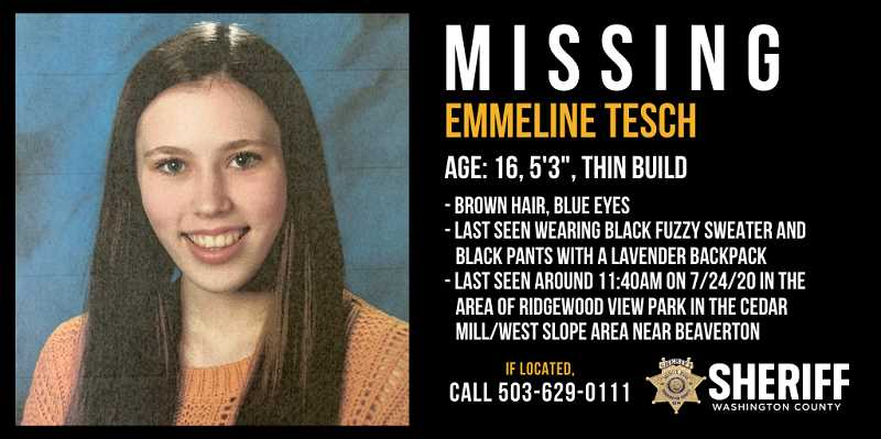 WASHINGTON COUNTY SHERIFF'S OFFICE - Emmeline Tesch went missing near Beaverton on July 24.