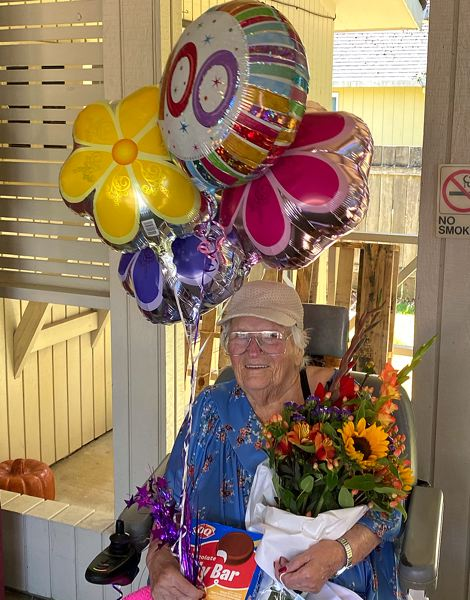 COURTESY PHOTO: ALTA LYNCH - Scappoose resident Alice Whitley was showered with gifts, visits, balloons, flowers and cakes in celebration of her 100th birthday on Wednesday, July 22.