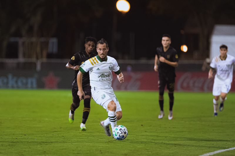 COURTESY PHOTO: MLS/DEVIN L'AMOREAUX AND JARED MARTINEZ - Sebastian Blanco has played every minute for the Timbers at the MLS is Back Tournament. Portland faces FC Cincinnati in a knockout match at 7:30 p.m. PT Tuesday.
