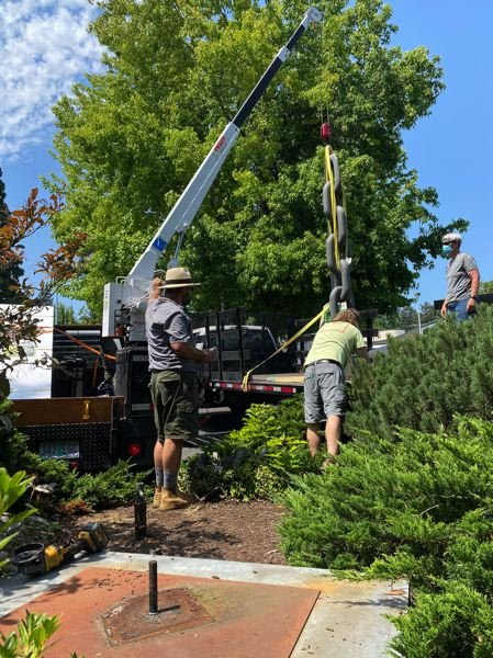 PMG PHOTO: CLARA HOWELL  - Sculptures were being removed around Lake Oswego to make room for more artwork to be installed in August as part of the rotating exhibit, Gallery Without Walls.