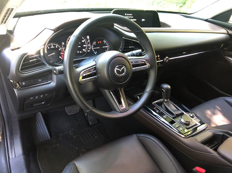PMG PHOTO: JEFF ZURSCHMEIDE - The interior of the 2020 Mazda CX-30 borders on luxury vehicle level with a high level of standard featues and available options in the higher trim levels.