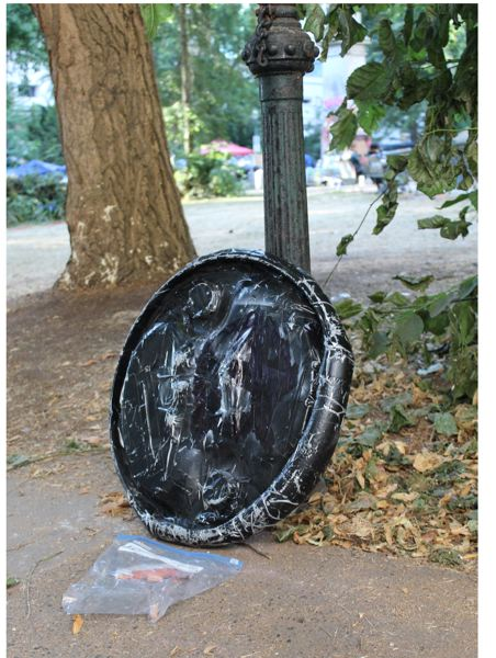 PAMPLIN MEDIA GROUP: JOSEPH GALLIVAN - An abandoned shield at Lownsdale Square after the 60th night of protests. Most of the trash picked up is food and paper waste.