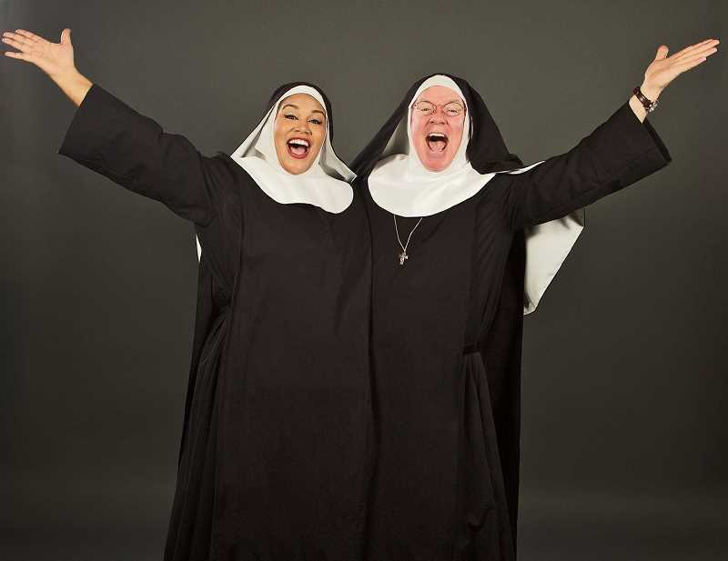 COURTESY PHOTO: CRAIG MITCHELLDYER  - Dan Murphy, left, teamed up with AntonÍa Darlene for Broadway Rose's production of 'Nunsense'. This week he will interview her online as part of the Midday Caberat series set for Wednesdays. The shows are later available at the Broadway Rose website.