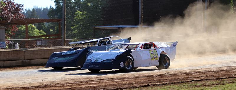 COURTESY PHOTO: ANN CARTER - Drivers speed down a straightaway during the second annual Ray Potter Memorial at the River City Speedway in St. Helens on Saturday, May 25.