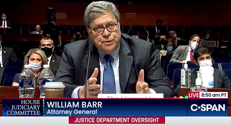 COURTESY PHOTO: C-SPAN - U.S. Attorney General William Barr told the House Judiciary Committee July 28 that Portland's nightly downtown protests were 'an assault on the United States government.'