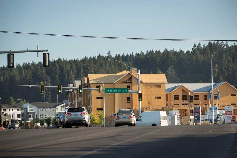 PMG PHOTO: JAIME VALDEZ - A new apartment building under construction near Southwest 175th Avenue and Scholls Ferry Road in the South Cooper Mountain neighborhood.