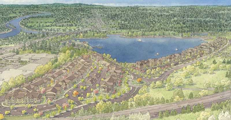 COURTESY PHOTO - After 244 apartments were constructed in the Clackamette Cove project's first phase in 2016 behind the Oregon City Shopping Center, an additional 370 units of housing were envisioned between Agnes Avenue and the Clackamas River Trail as part of the second phase of the project.