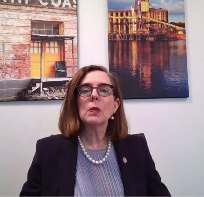SCREENSHOT - Oregon Gov. Kate Brown appears at the kickoff at the kickoff of the Oregon Business Plan Leadership Summit Series on Tuesday.