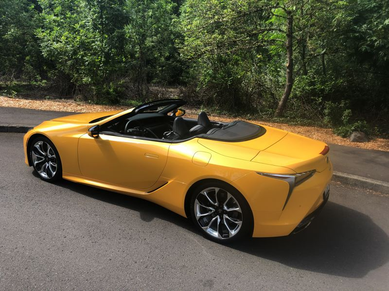 PMG PHOTO: JEFF ZURSCHMEIDE - The 2021 Lexus LC500 attracts attention coming and going — and it goes very fast, with a 471-horsepower 5.0-liter V8.