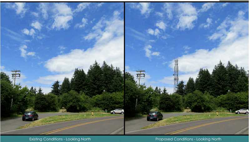 COURTESY PHOTO - An image in the C800 presentation shows what the tower would look like when viewed from Carriage Way in West Linn.