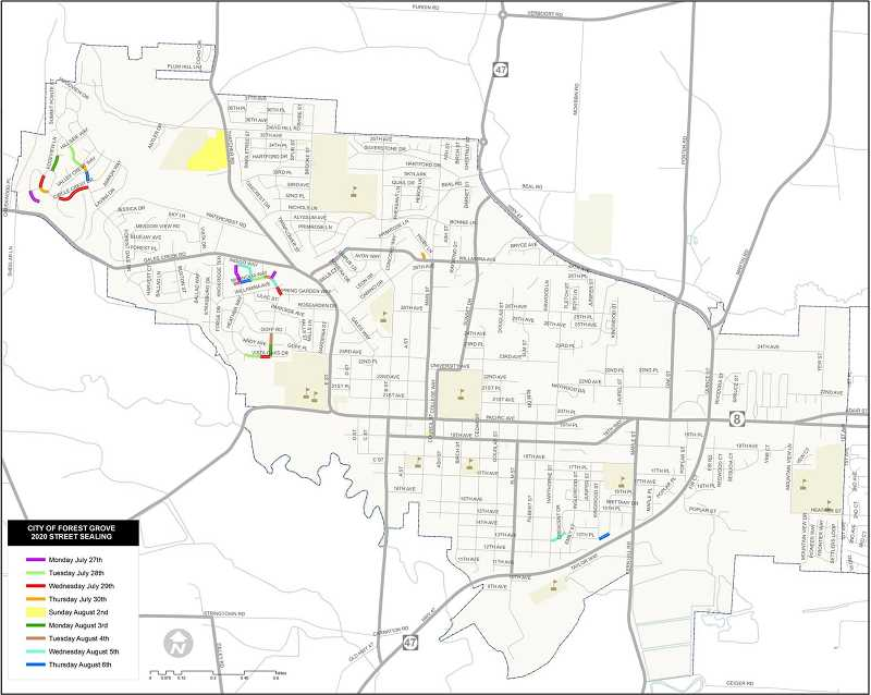 COURTESY PHOTO - Map of sealant projects in Forest Grove.