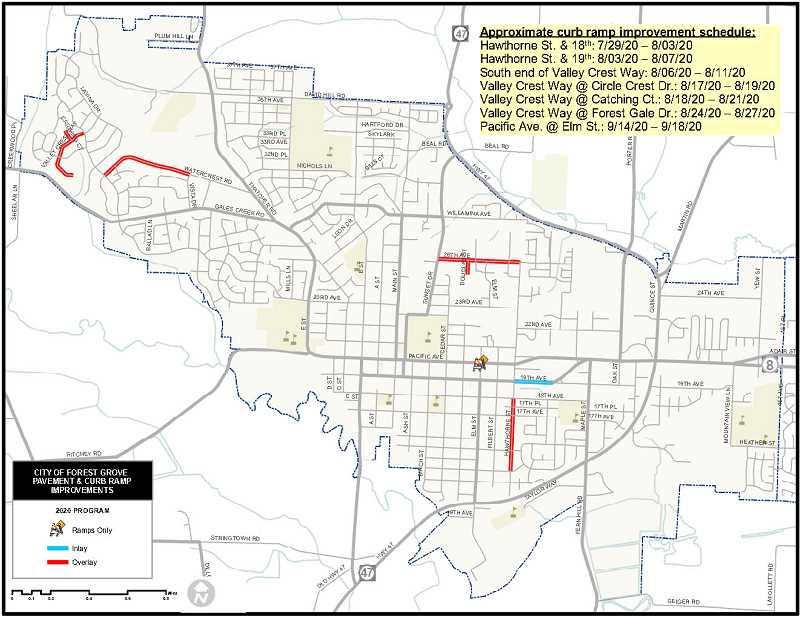 COURTESY PHOTO - Map of projects in Forest Grove.