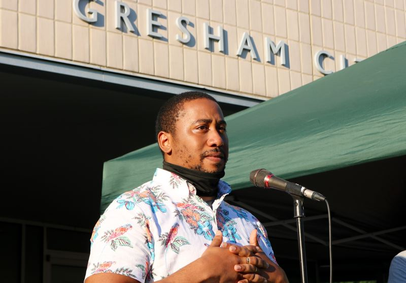 PMG PHOTO: ZANE SPARLING - Gresham Councilor Vincent Jones-Dixon addresses a crowd outside City Hall on Wednesday evening, July 29.
