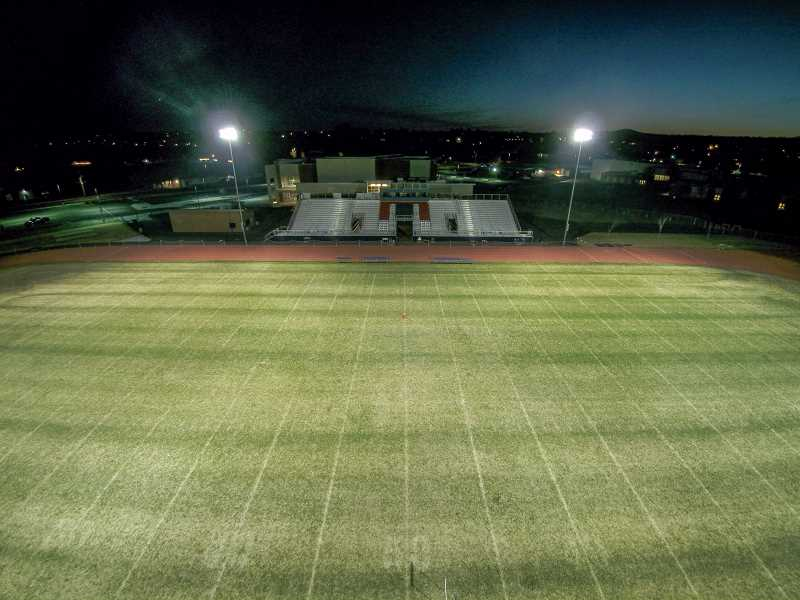 TOM BROWN/FOR THE PIONEER - The Madras High School football stadium lights were turned on Tuesday, April 7, in honor of the Class of 2020 and the impact the coronavirus has had on that class. MHS athletic director Evan Brown learned about a Be the Light program that was going on in Colorado. In a small virtual meeting with Central Oregon athletic directors, Brown suggested that something similar could take place in Oregon. A few emails later and, before the week was out, 78 other schools in the state were participating., Madras Pioneer - Sports Madras and Culver high schools turn on their stadium lights; the idea goes statewide. Lights go on to honor athletes, seniors