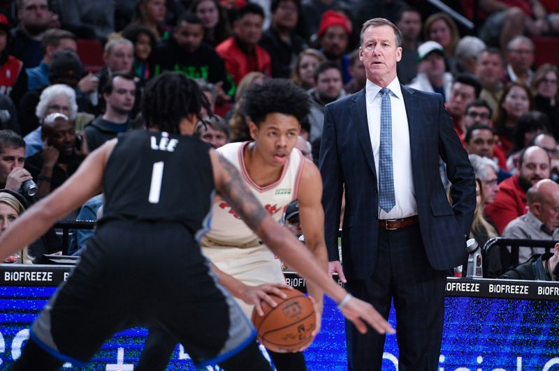 PMG FILE PHOTO: CHRISTOPHER OERTELL - Coach Terry Stotts, seen here during a 2019 game against Golden State, says the Blazers have to treat each of their eight games in Orlando as a playoff game.