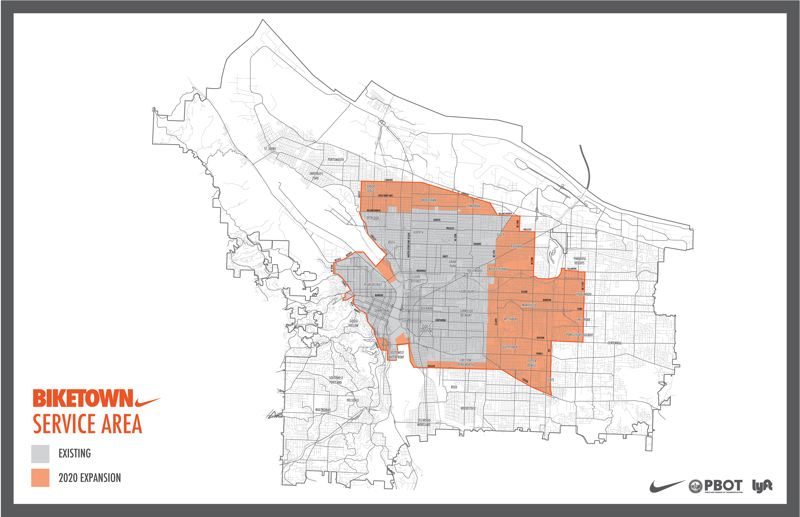 COURTESY PBOT - Biketown will now have a 32-square-mile service area, a 13-square-mile increase, when the program revamps next month.