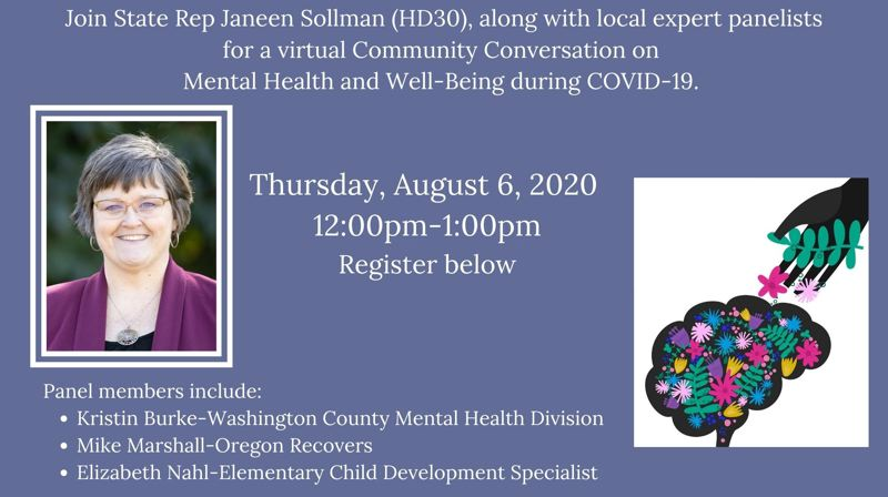 COURTESY IMAGE: REP. JANEEN SOLLMAN - Oregon State Rep. Janeen Sollman will host a community discussion about mental health and well-being during the coronavirus pandemic on Thursday, Aug. 6.