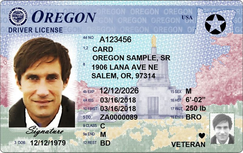 VIA ODOT - The five-sided star on the right-hand corner of this sample Oregon driver license indicates that the card is compliant with the Real ID Act of 2005.