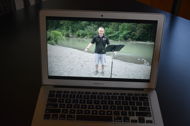 PMG PHOTO: TERESA CARSON - Grace Community Church Pastor Jay Messenger preaches from a remote location for the weekly online Sunday service.