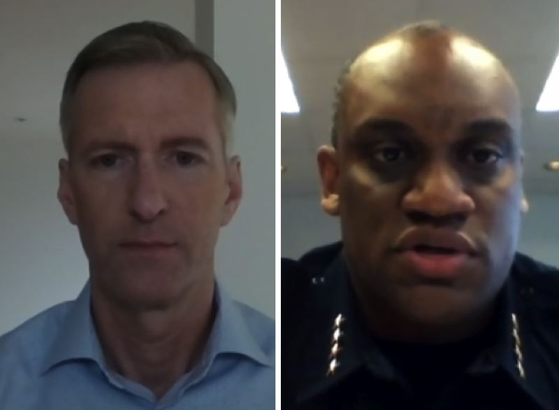 SCREENSHOT - Portland Mayor Ted Wheeler, left, and Police Chief Chuck Lovell addressed recent fires set at the police bureau's east precinct during a virtual press conference on Thursday, Aug. 6.