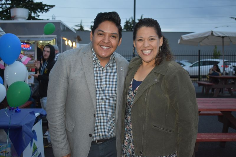 PMG PHOTO: TERESA CARSON - Eddy Morales, candidate for Gresham mayor, with Mayra Gomez, a member of the Gresham-Barlow School Board at an East County Rising function last year.