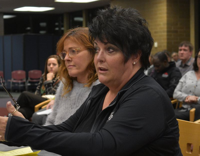 PMG PHOTO: TERESA CARSON - Karen Johnston, who is involved in the community in addition to being a business owner, gives input at a meeting of the Mt. Hood Community College Board of Education.