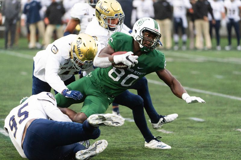 COURTESY PHOTO: PSU ATHLETICS/TROY WAYRYNEN - The 2020 season for Portland State senior receiver Emmanual Diagbe, (80) pictured in a 2019 game, will be delayed until the spring of 2021.