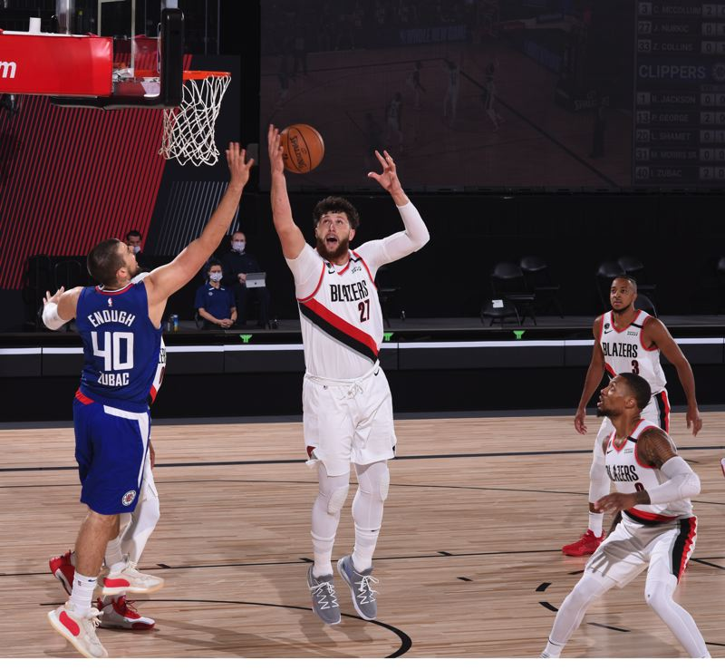 COPYRIGHT 2020 NBAE (PHOTO BY JESSE D. GARRABRANT/NBAE VIA GETTY IMAGES) - Jusuf Nurkic had a near triple-double, but the Los Angeles Clippers, playing without Kawhi Leonard and then Paul George, still managed to beat Portland, 122-117.