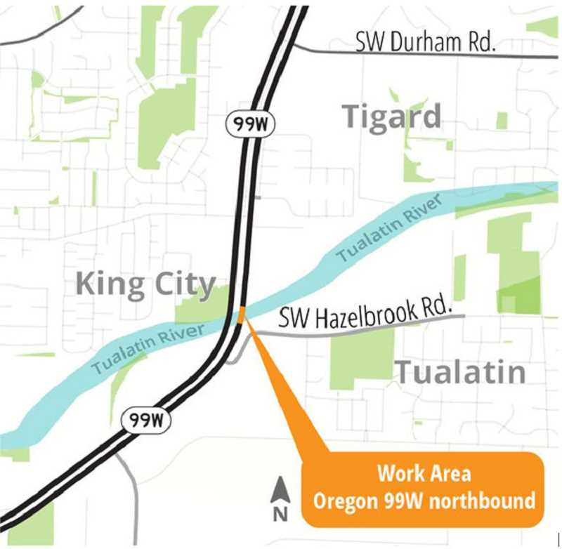 One lane along northbound Highway 99W closed for Tualatin River bridge repair