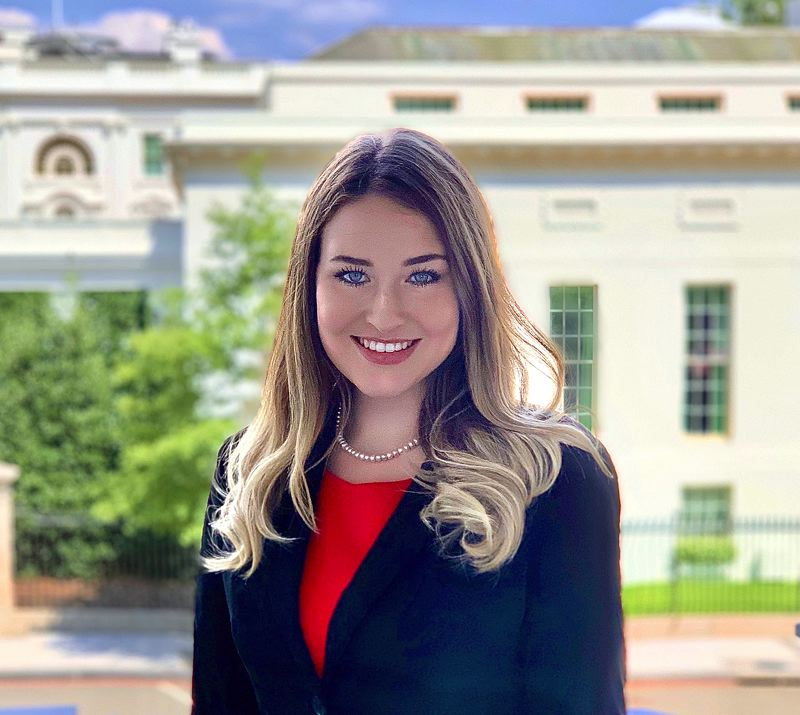 COURTESY PHOTO: EMMA RAE PHILLIPS - Emma Rae Phillips, a 2019 Scappoose High School graduate, poses outside the White House during her two-month internship in Washington, D.C., in July and August.