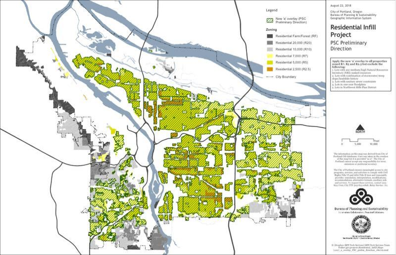 CITY OF PORTLAND - A Bureau of Planning and Sustainability map showing which single-family neighborhoods would be essentially rezoned for more density under the Residential Infill Project.