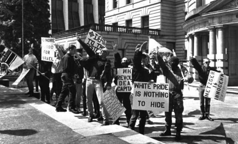 VIA OREGON HISTORICAL SOCIETY - White supremacists openly protested outside Portland City Hall on May 5, 1991. Students are pushing for a more honest look at the historical experiences of racial minorities in Oregon.
