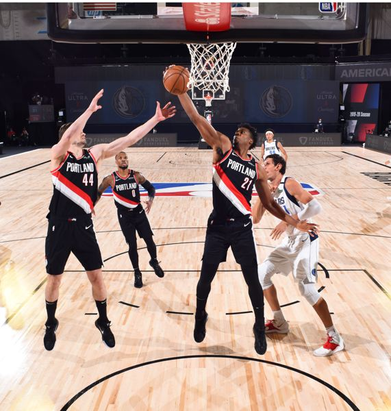 COPYRIGHT 2020 NBAE (PHOTO BY GARRETT ELLWOOD/NBAE VIA GETTY IMAGES) - Hassan Whiteside returned to the Portland lineup and contributed to the Blazers' win.