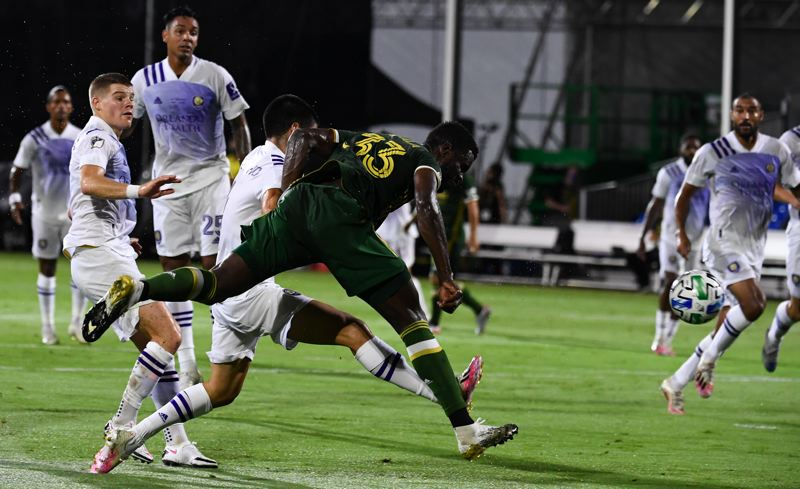 COURTESY PHOTO: MLS/DOUGLAS DE FELICE-USA TODAY SPORTS - Larrys Mabiala (33) headed the Timbers into a 1-0 lead in the first half of Tuesday's MLS is Back Tournament final.