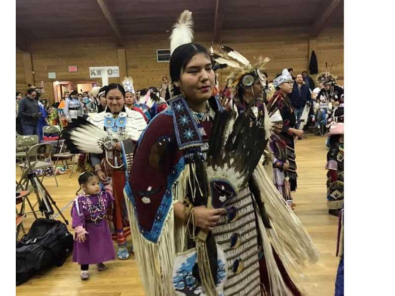 COURTESY PHOTO - Roberta Kirk's granddaughter Tashina Eastman wears a dress that Kirk made at Lincoln's Powwow at the Simnasho Longhouse.