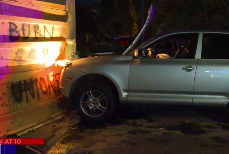 KOIN 6 NEWS - The crash scene at the Portland Police Association building on Saturday night.