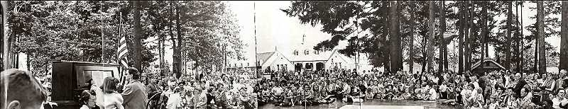 COURTESY SMILE HISTORY COMMITTEE - In the 1950s, neighborhood celebrations and events were common in Sellwood Park. Heres an assembled panorama photo montage of one of them, in which many children turned out for what appears to be a patriotic piano recital, complete with an American Flag and a piano that had been hauled into the park, with a wooden stage set up nearby.