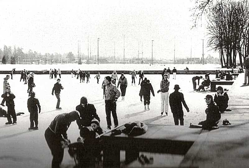 COURTESY OREGON HISTORICAL SOCIETY - Winter skating on the frozen Westmoreland Park Casting Pond. The 1950s saw a resurgence in family values; new suburban neighborhoods were filled with young families and parents with kids who gathered at neighborhood picnics, or to watch their children play Little League baseball, or to spend a cold evening of ice skating on a fortuitously frozen pond.