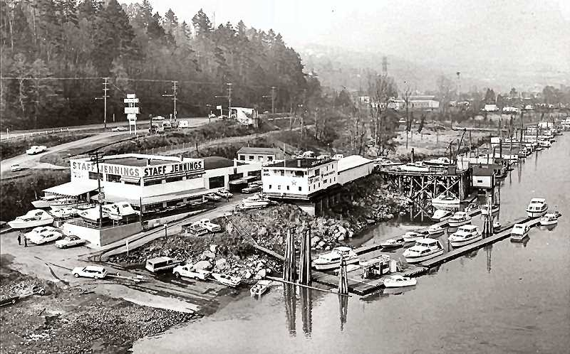 COURTESY OF THE JENNINGS FAMILY - When spring arrived in the 1950s, men made their annual trek to Staff Jennings Boat Store at the west end of the Sellwood Bridge to check out the latest motorboats and watercraft. Often they returned to have their lawnmowers tuned up for the summer, or to buy a speedboat magazine.  After 81 years serving the public, Staff Jennings closed in March of 2010 to make way for the new Sellwood Bridge.