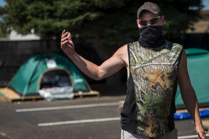 PMG PHOTO: JAIME VALDEZ - Bruce Lazott, who has been chronically homeless for four years, was one of the first people to come to Safe Sleep Village when it opened in early August.