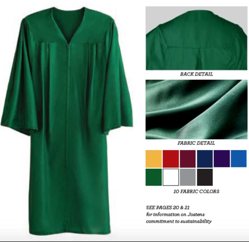 COURTESY OF JOSTENS - A graduation gown produced by Jostens is made from biodegradable materials, unlike traditional polyester gowns.