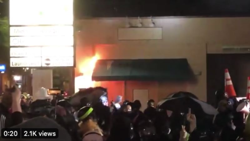 COURTSEY PHOTO: KOIN 6 NEWS - An awning burning at North Precinct.