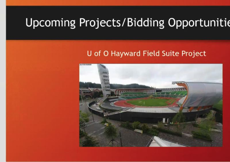 COURTESY: SRG PARTNERSHIP - A rendering of how the U of O's Hayward Field in Eugene will look in two years, taken from screenshot of a Meet the Primes by Zoom call on August 20. Hoffman staffers talked about upcoming workers they will need for SRG Partnership's renovation of the famed athletic stadium.