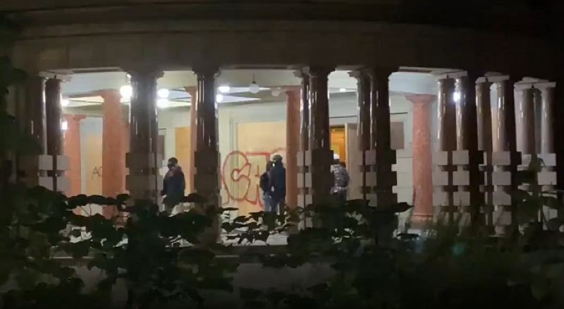 COURTESY PHOTO: KOIN 6 NEWS - Damage to City Hall in downtown Portland.