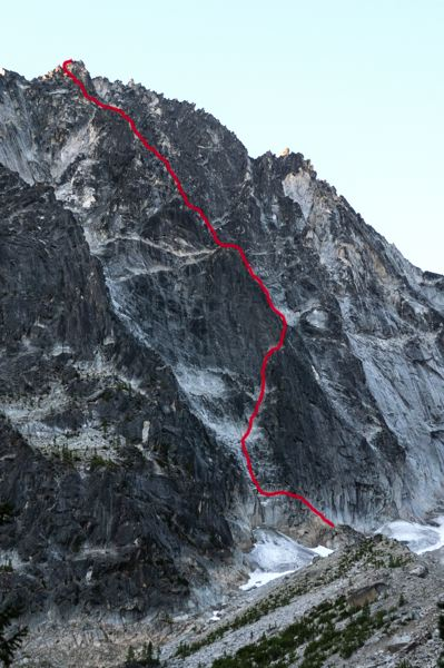 PMG PHOTO: JONATHAN HOUSE - This is the 2,000-foot climbing route (in red) of the Dragontail Peak's Serpentine Arete.